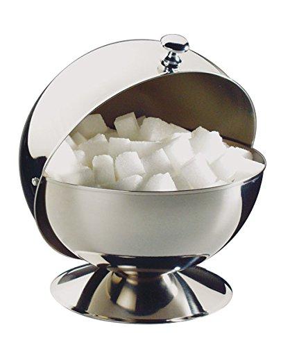 APS Zuckerkugel, Zuckerdose mit Rolldeckel, Edelstahl Zuckergefäß mit Deckel, 14 x 14 cm, Höhe 14 cm