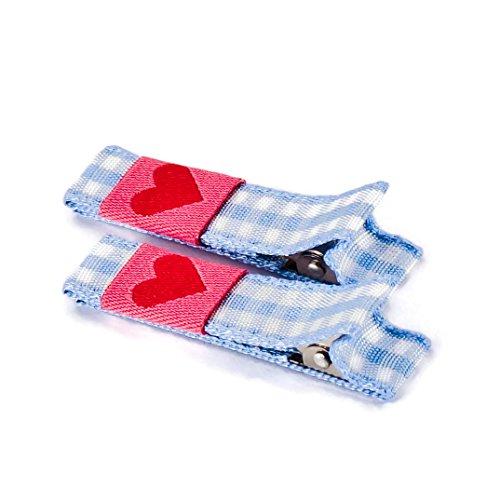 Anton & Sophie 1 Paar hochwertige Haarspangen hellblau kariert - mit Stoff bezogen - KEIN ZIEPEN - Viele Variationen - Made in Gemany (hellblau kariert mit Herz)