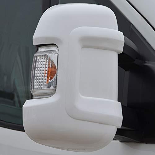 2 x Schutzkappen für Außenspiegel Spiegel Seitenspiegel Wohnmobil Caravan Zubehör Reisemobil Protector Kunststoff Kappe Weiß Camping Reisen Fahrzeug Schutzhülle