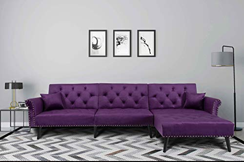 Mid Century Upholstered Sectional Sofa Futon Couch with Reversible Chaise with Adjustable Back Sofa Bed (Purple)