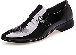 Shangruiqi Men's Fashion Business Oxford Casual Pointed Comfort Classic Personality Stitching Slip On Formal Shoes Abrasion Resistant (Color : Black, Size : 5.5 UK)