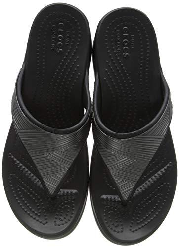 Crocs Monterey Metallic Wedge Flip, Sandalias con cuña Mujer, Black, 37 EU