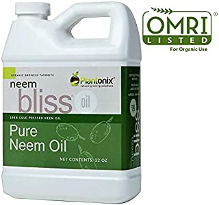 Organic Neem Bliss 100% Pure Cold Pressed Neem Seed Oil 32 oz - OMRI Listed for Organic Use