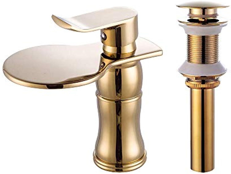 Wasserhahn-Set - Wasserfall-Gold-Centerset Ein Loch, 1,1
