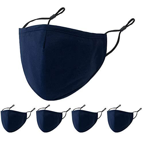 OVERMALL 5 Stück Erwachsene Mundschutz Waschbare Stoffmaske Baumwolle Staubdicht Atmungsaktiv Mund-Tuch Bandana Halstuch Multifunktionstuch Schals Damen Herren