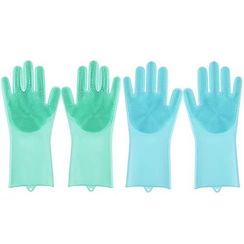 Gigitube Lot de 2 paires de gants de nettoyage en silicone avec brosse de lavage pour la cuisine Vert
