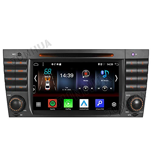 Junhua Android 10 Dual-Tuner-Autoradio Eingebautes Carplay+Android Auto Bluetooth 5.0 Rohm-DSP DVD GPS Navigation für Mercedes Benz C/CLK KLASSE W203 W209 DAB + WiFi 4G USB