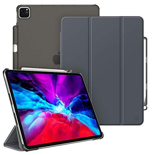 Fintie Hülle für iPad Pro 12.9 Zoll 2020 und 2018 (Unterstützt 2. Gen Pencil, kabelloser Ladefunktion) - Superdünn Schutzhülle mit Transparenter Rückseite Abdeckung, Auto Sleep/Wake, Himmelgrau