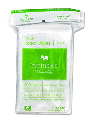 "Intrinsics Petite Cotton Wipes - 2""x2"", 4-ply 100% Cotton, 200 Count"