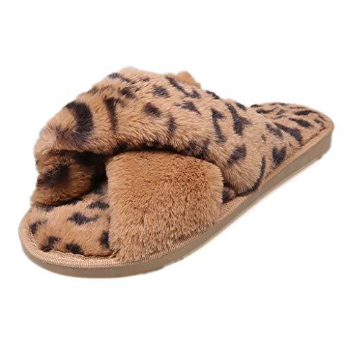 catmoew Damen Plüsch Hausschuhe Winter Leopard Kreuz Pantoffeln Memory-Baumwolle Freizeit Slippers rutschfest Gummisohle Hüttenschuhe Bequeme Hallenschuhe