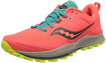 Saucony womens Peregrine 10 Trail Running Shoe, Vizired | Citron, 9.5 US