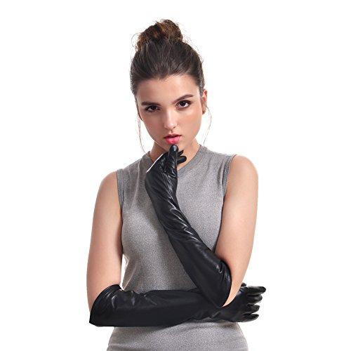 VEMOLLA Womens Winter Long Evening Dressing Genuine Leather Gloves Fleece Lined