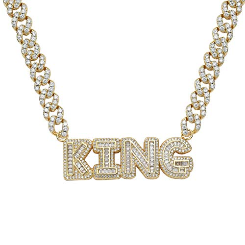 Dxnbp Iced Out Bubble Letter Stitching Pendant Necklace 18k Gold Plated Alphabet Choker 9mm Miami Cuban Link Chain For Men Hip Hop Charm Jewelry
