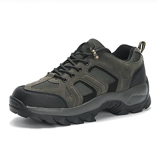 DSFGS Botas de Andar para Hombre, Botas de Senderismo Zapatos, Zapatos Trekking Impermeables Antideslizantes Escotados,Green-45EU