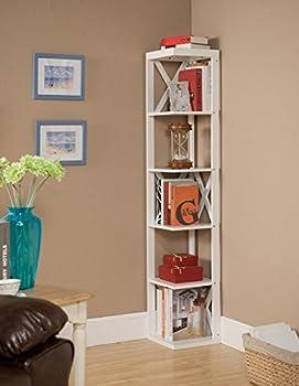 Kings Brand Furniture Wood Wall Corner 5 Tier Bookshelf Display Stand White