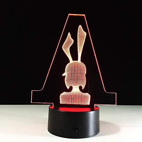 Lamp LED 3D illusie meisjes konijntje tafellamp leeslamp 7 kleurverandering cadeau