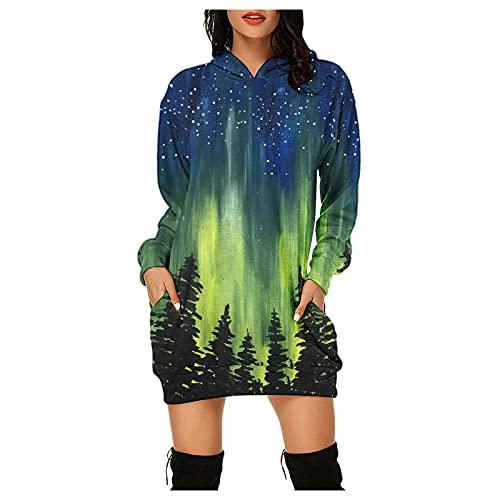 Dasongff Vestido de Navidad para mujer, con capucha, de manga larga, con capucha, para otoño, invierno, estrecho, para Navidad, verde-1, L