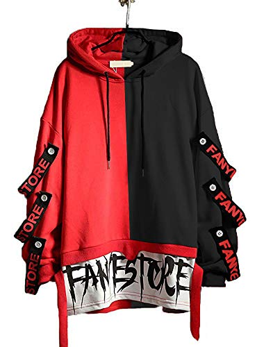 [Runwalker]パーカー メンズ プルオーバー ヒップホップ ファッション 長袖 カップル フード付き 人気 黒と赤のステッチ 春秋冬服 大きいサイズ 原宿風
