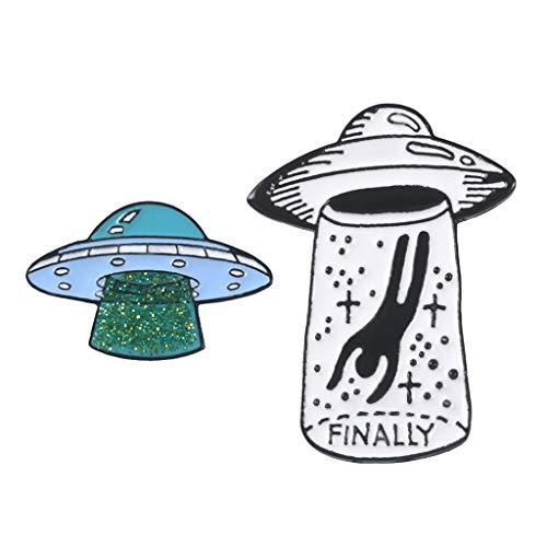 Set Di 2 Spille Con Smalto Carino Set Di Alieni UFO Con Spilla A Forma Di Cartone Animato Distintivi Per Donne Ragazze Ragazzi Per Abbigliamento Borse