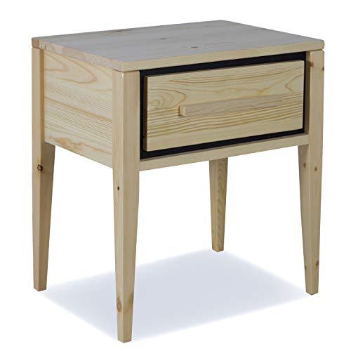 Homestyle4u 1865, Nachttisch Holz, Nachtschrank mit 1 Schublade, Kiefer, Natur