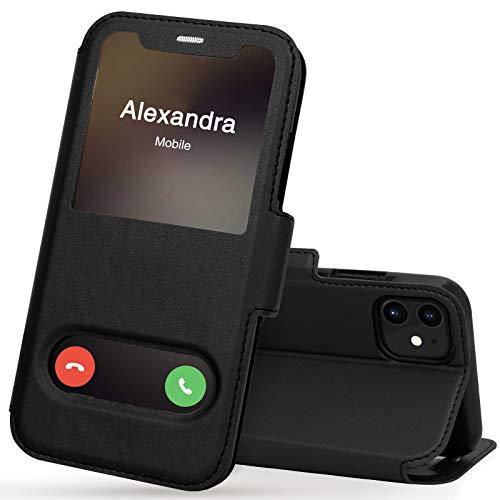 FYY iPhone 11 Handyhülle,iPhone 11 Hülle 2019,Premium PU Lederhülle Flip Leder Handytasche mit [View-Fenster]& Magnetverschluss für Apple iPhone 11 6.1'' Tasche,Schwarz