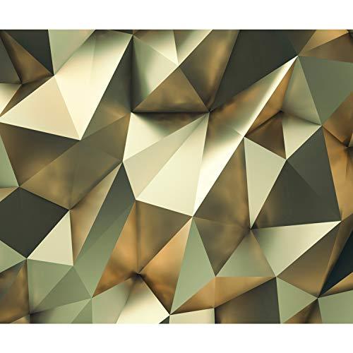 decomonkey Fototapete 3d Effekt 400x280 cm XXL Design Tapete Fototapeten Vlies Tapeten Vliestapete Wandtapete moderne Wand Schlafzimmer Wohnzimmer Abstrakt gold grün