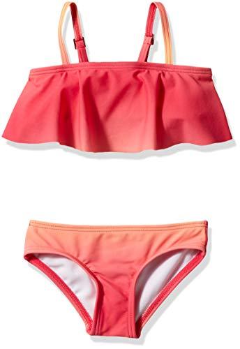 Kanu Surf Girls' Karlie Flounce Bikini Beach Sport 2-Piece Swimsuit, Janie Coral, 7