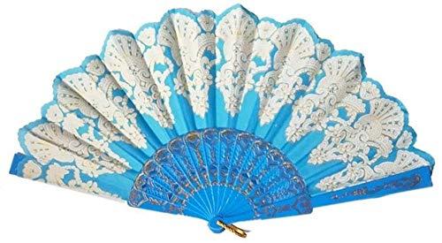 Opvouwbare ventilator,Elegante lichtblauwe mode opvouwbare gouden blokkerende dansende ventilator Delicate ambachtelijke decoratie Fan cadeau