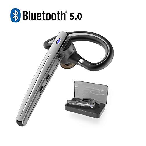 Bluetoothヘッドセット5.0 ワイヤレスブルートゥースヘッドセット高音質片耳内蔵マイクBluetoothイヤホンビジネス快適装着 ハンズフリー通話 また日本技適マーク取得 (黒い)