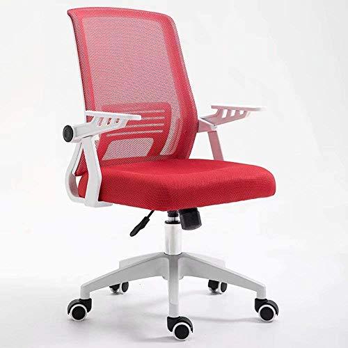 BRFDC Noble Chair Bürostuhl Ergonomischer Swivel Mesh Task Chair High Back gepolsterter Schreibtischstuhl mit Faltbarer Armlehnenkopfstütze höhenverstellbar (Color : Red)