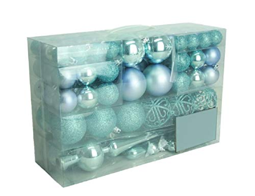 Geschenkestadl - Palline di Natale a forma di cuore con fiocco di neve, 101 pezzi, con 100 ganci in metallo, blu ghiaccio, Diametro: 3/6/4 cm