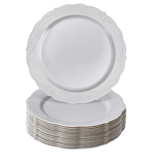 Silver Spoons Servizio da Tavola Collezione Vintage Monouso per Feste, 20 Piatti da Insalata | Piatti di Plastica Resistente | Stile Porcellana Fine ed Elegante, Grigio, 23 Cm