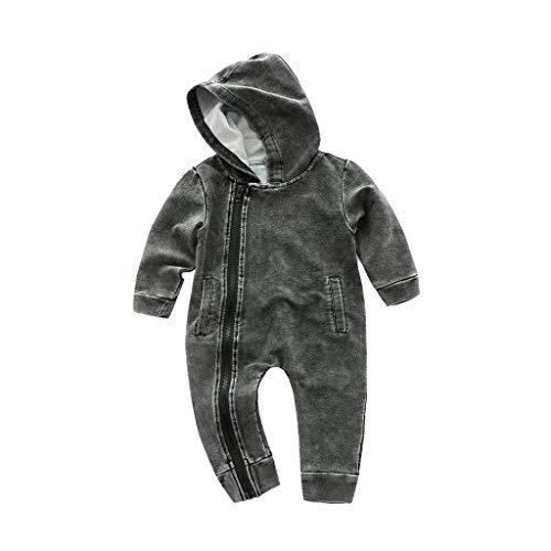H.eternal(TM) - Mono con Capucha para bebé y niña, con diseño de Papá Noel, para niños Gris Gris M