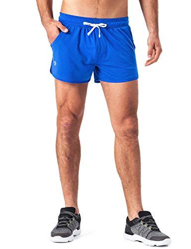 NAVISKIN Herren Mesh Laufshorts Ultraleicht Sportshorts atmungsaktiv Split Trainingsshorts integrierter Mesh-Innenhose Seitentaschen Blau Größe L