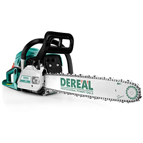 DEREAL Pro 62cc-Gas-Chainsaw 2 Cycle Gasoline Powered Chain Saws Handheld Cordless Petrol Chainsaws Optional 20 and 14 Inches Guide Board Power Chain Saws for Trees Wood Garden Ranch Forest Cutting
