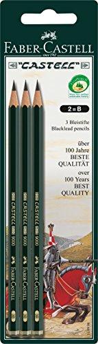 Faber-Castell 110998 - 3 Bleistifte CASTELL 9000, Härtegrad: B, Schaftfarbe: grün