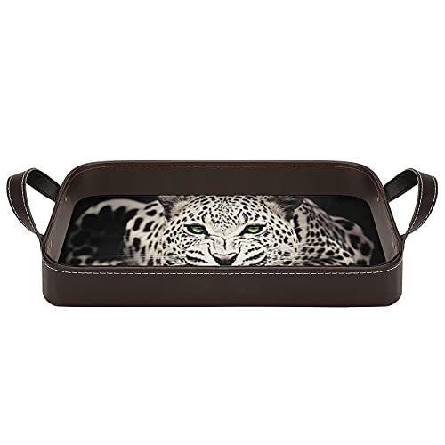 bandeja de cuero,bandeja de tocador decorativa,Cool Animal salvaje Jaguar,Bandeja de utilidad Oficina en casa Viaje Café Ba