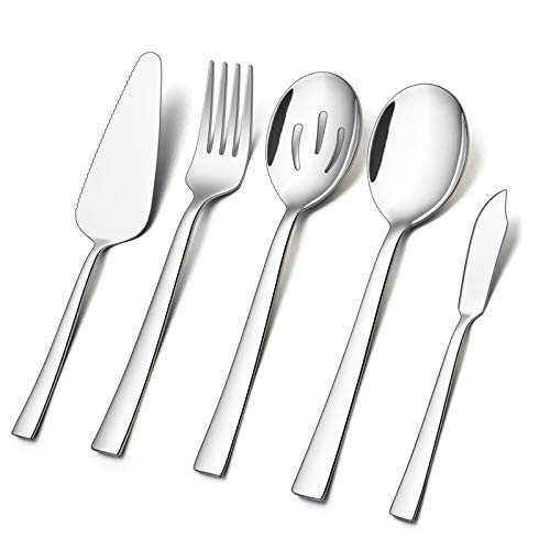 5-Piece Serving Utensils E-far Stainless Steel Square Edge Hostess Serving Set for Buffet Party Kitchen Restaurant Mirror Finished Dishwasher Safe