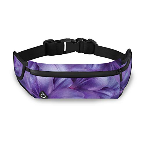 Purple Lily Flowers Bright Lavender Floral Dad Fanny Pack For Men Waist Zipper Bag Fashion Overnight Bag With Adjustable Strap For Workout Traveling Running