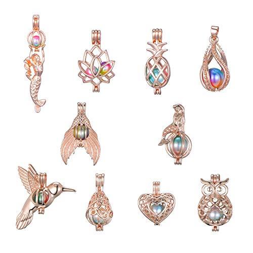 Manlufushi - 10 colgantes de perlas chapadas en oro rosa con difusor de aceites esenciales, jaula de sirena, búho, pájaro, loto para pulseras, collares, pendientes, bisutería