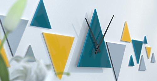 www.deco-julie.fr Horloge Murale de Bureau Moderne Bleue Canard, Gris Argent et Jaune