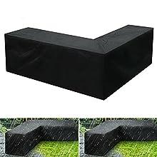 Chytaii - Funda de sofá esquinero en forma de jardín de L, cubierta de protección de muebles exterior impermeable 210D Oxford tela para muebles exteriores negro