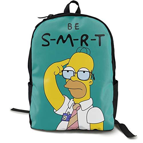 Smart Homer Sim-Ps-On - Mochila para estudiantes (16,5 pulgadas, doble compartimento), ideal para niños y niñas, escuela, universidad, viajes al aire libre