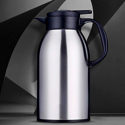 QFFL Pot d'isolation de grande capacité d'acier inoxydable/bouteille d'eau chaude de bureau de ménage/théière (265 * 137 millimètres) thermos (Couleur : Couleur en acier inoxydable)