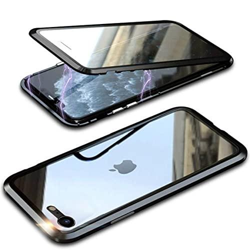 Cover per iPhone SE 2020 / iPhone 8 Custodia Magnetica 360 Gradi Antiurto Trasparente Case con Protezione Integrata dello Schermo Cornice Metallica Rugged Armor, Nero