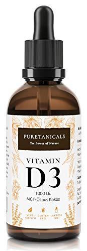 Vitamine D3 1000 IE par Goutte testée en laboratoire - Longue Conservation avec 1700 gouttes (50ml) - dans de l'huile MCT de noix de coco, cholécalciférol liquide, fabriquée en Allemagne