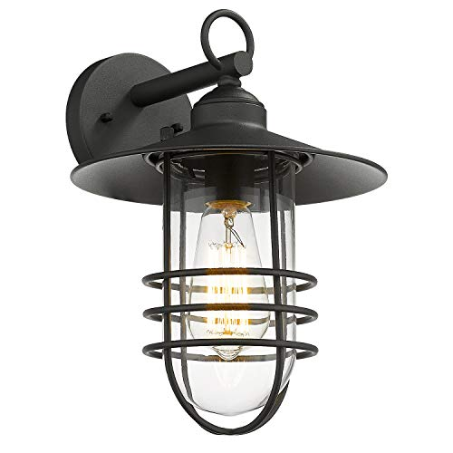 Emliviar Nautical Outdoor Wall Light, Exterior Wall Lantern with Metal Cage, Black Finish with Clear Glass, DE19107B1 BK