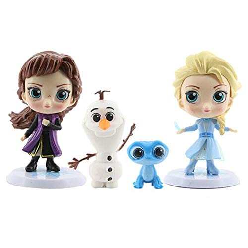 Yangzou Q Versión 4Pcs / Set Modelos Frozen 2 Princesa Elsa Anna Muñeca Xuebao Decoración De Pasteles para Hornear Juguetes para Niños Regalo De Cumpleaños