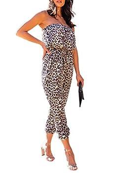 Fixmatti Leopard Print Jumpsuit Bandeau Cold Shoulder One Piece Outfits High Waist Strapless Capri Romper Brown L