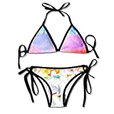 OWEDR Happy Smiling Moon and Stars Mujeres Halter Swimsuit Sex 2 Piece Swimwear Triangle Bikini Sets Ropa Interior
